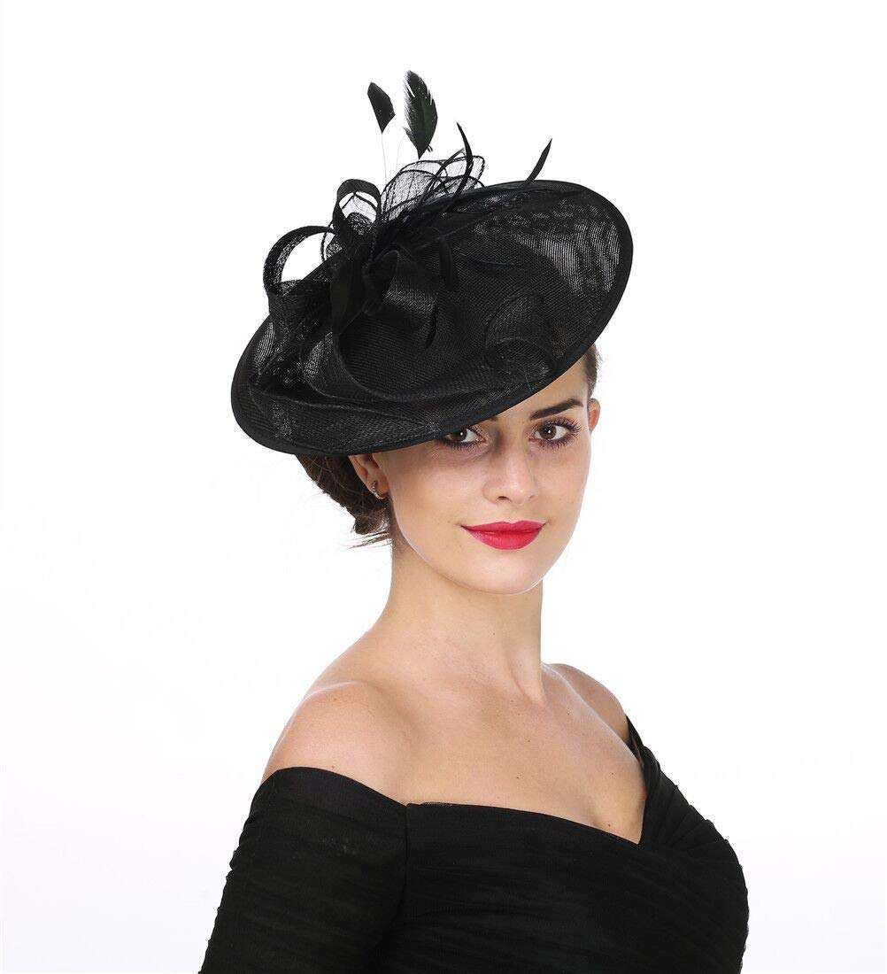 SAFERIN Fascinators Large Hat Sinamay Flower Mesh Feathers on a Headband and a Clip Cocktail Tea Party Headwear for Girls and Women (TA9-Black) by SAFERIN