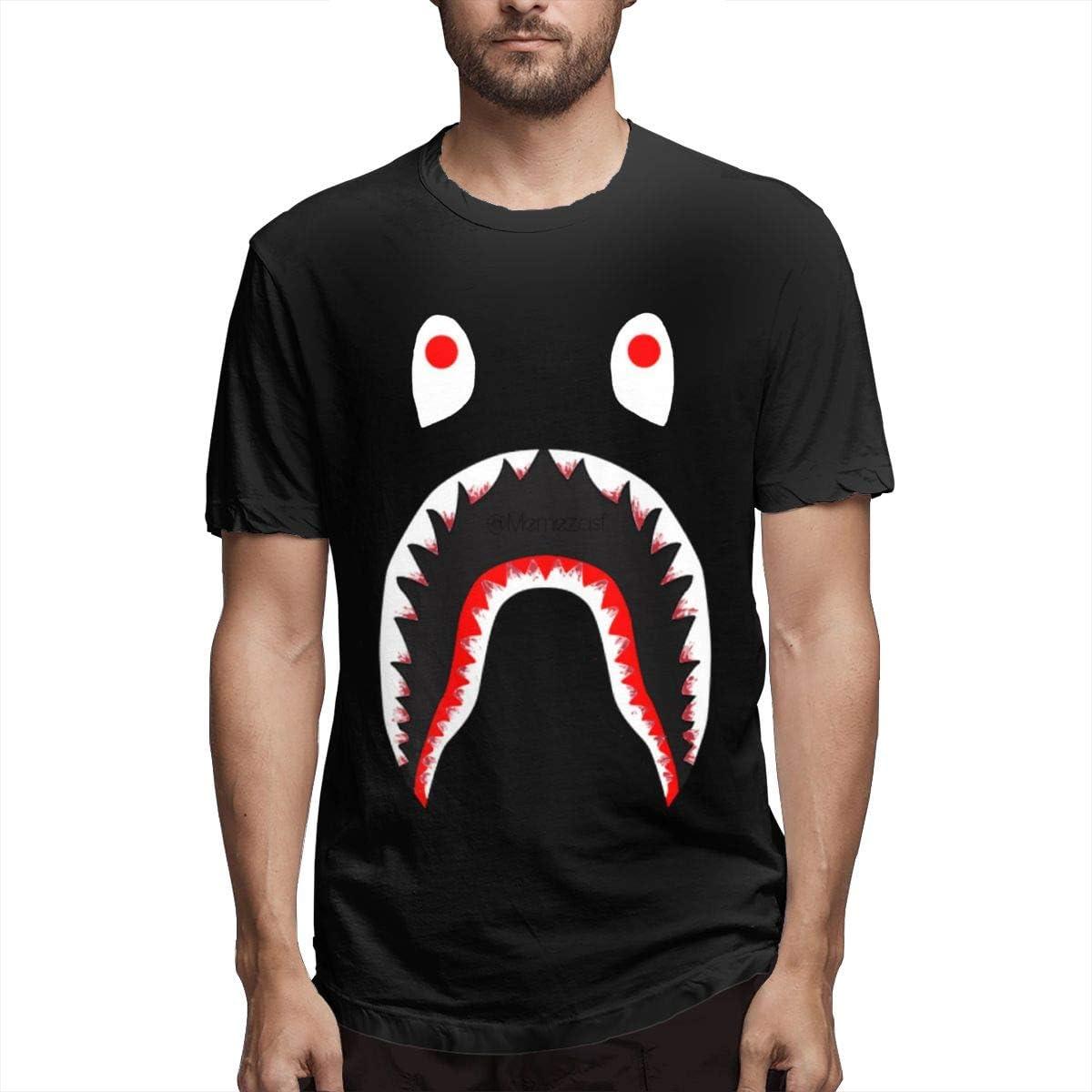 Bape Blood Shark T Shirts Men Tops Round Neck Cotton Short Sleeves Tees