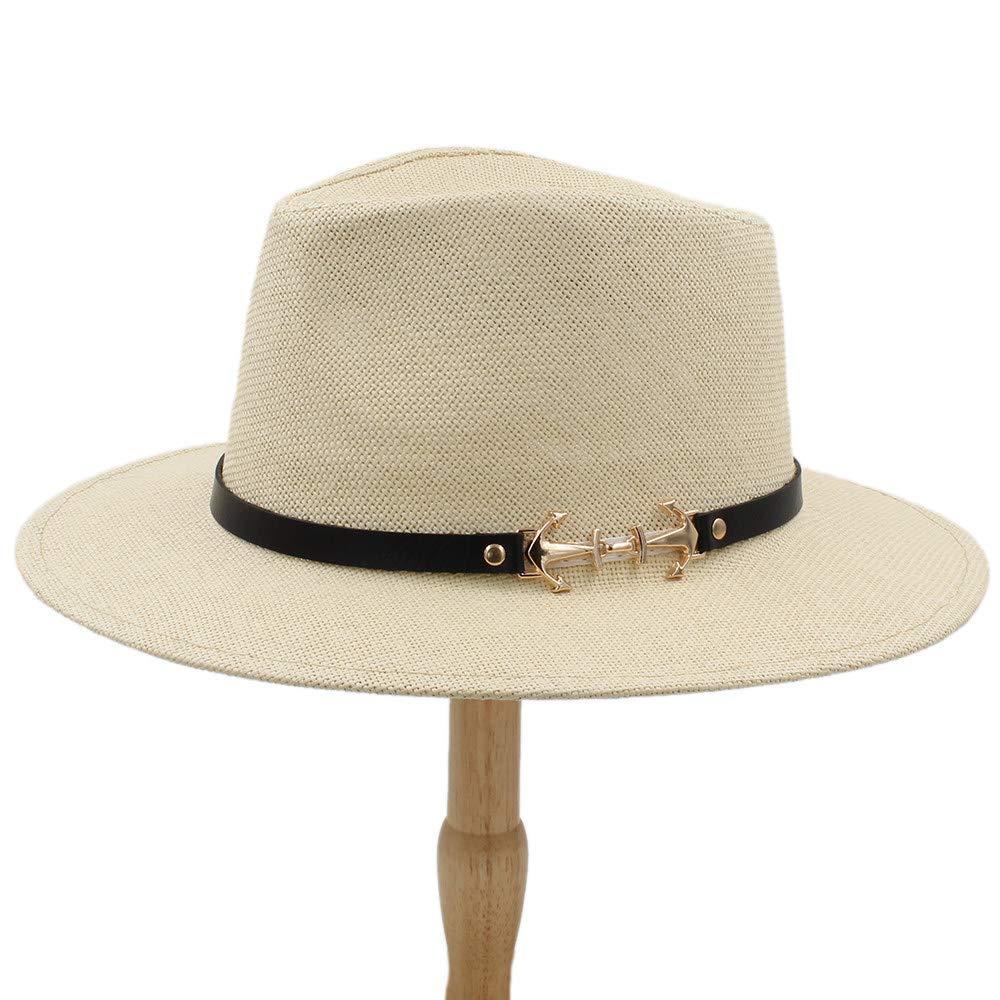 Amazon.com  XHD-caps 2018 Fashion Plain Color Panama Straw Hats Fedora Soft  Vogue Men Women Stingy Brim Caps 6 Colors Choose 58 cm (Color   Beige 151c279a5716