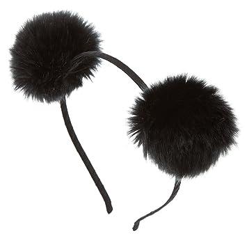 Amazon.com   Claire s Girl s Black Fluffy Pom Pom Headband   Beauty c53cfb8c5da
