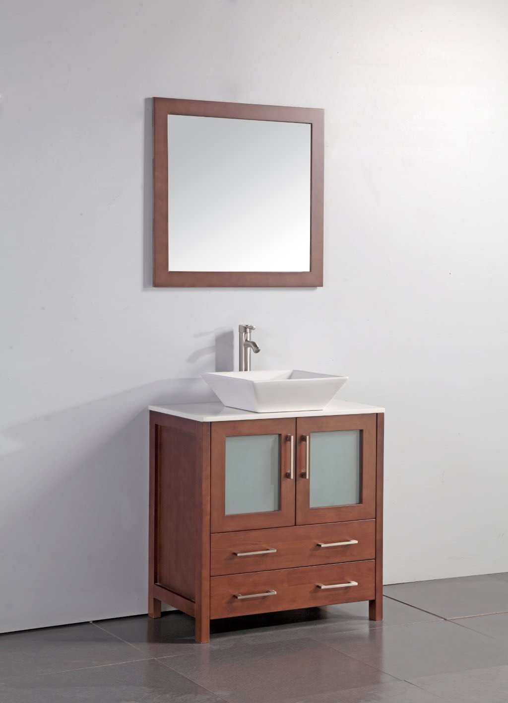 Legion Furniture WA7830C 30 Artificial Stone Top Vessel Sink Bathroom Vanity with Matching Framed Mirror and, Cherry Finish