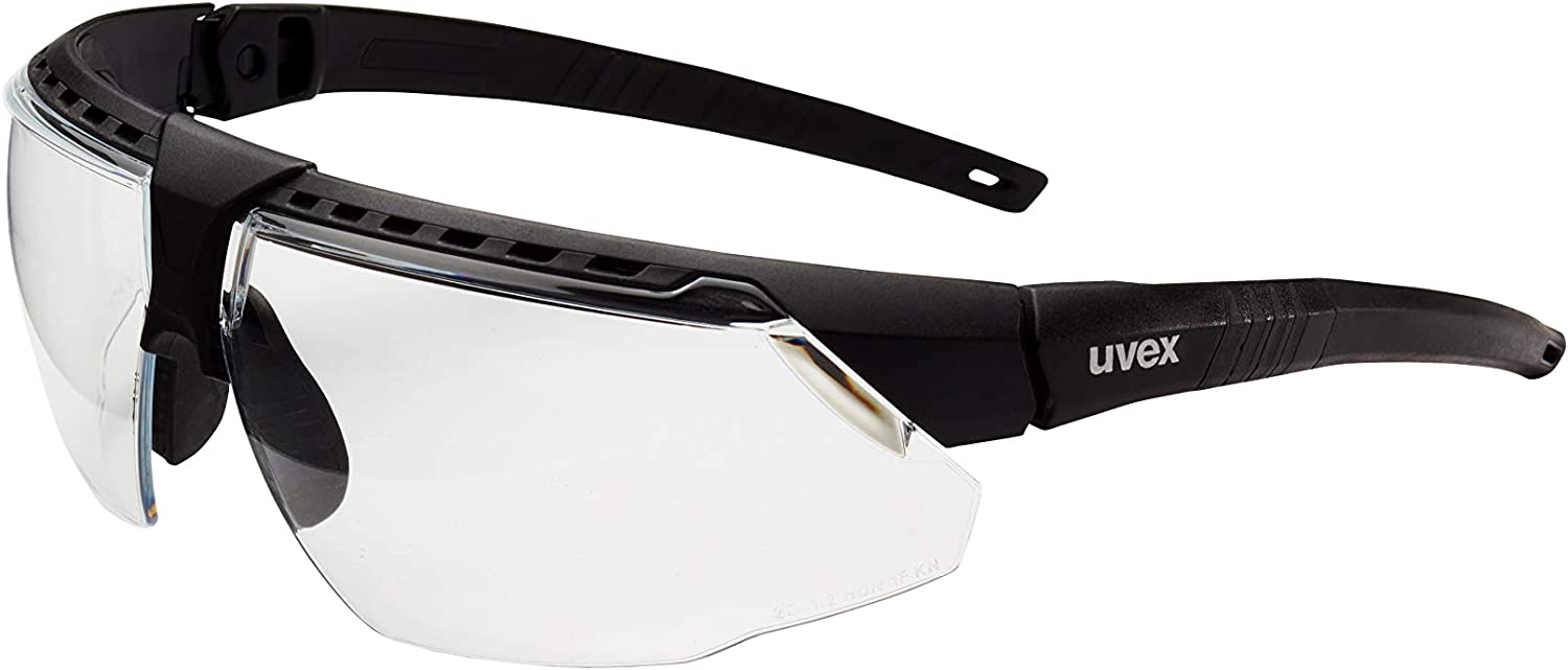Uvex by Honeywell Avatar Safety Glasses, Black Frame with Clear Lens & HydroShield Anti-Fog Coating (S2850HS)