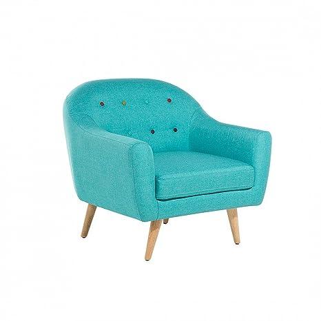 Sillón tapizado - Azul Celeste- Butaca - GJOVIK: Amazon.es ...