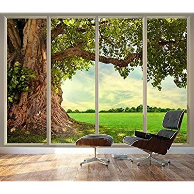 Wall26 - Large Wall Mural - Old Tree and Meadow Seen Through Sliding Glass Doors | 3D Visual Effect Self-Adhesive Vinyl Wallpaper/Removable Modern Decorating Wall Art - 66
