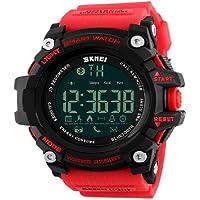 Skmei 1227Reloj Inteligente Bluetooth Call Mensaje Notificación podómetro 50m impermeable reloj deportivo, Rojo
