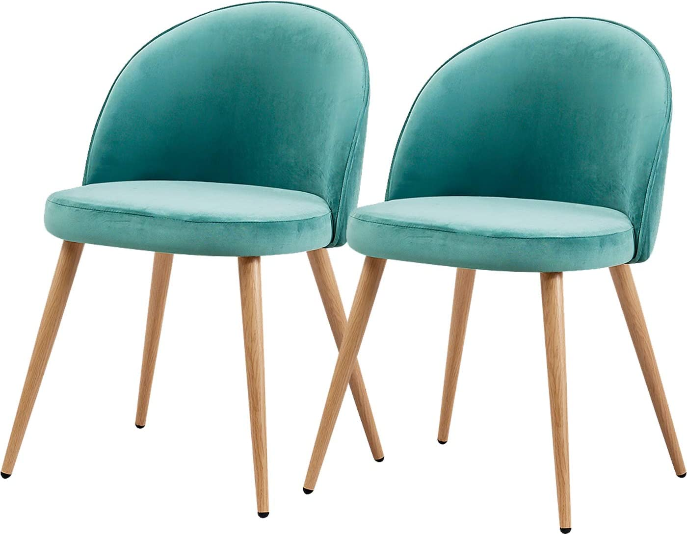 TONVISION Velvet Occasional Dining Chairs Cozy Cushioned Seat Wooden Effect  Metal Legs Small Living Room Bedroom Armchair,8 Green