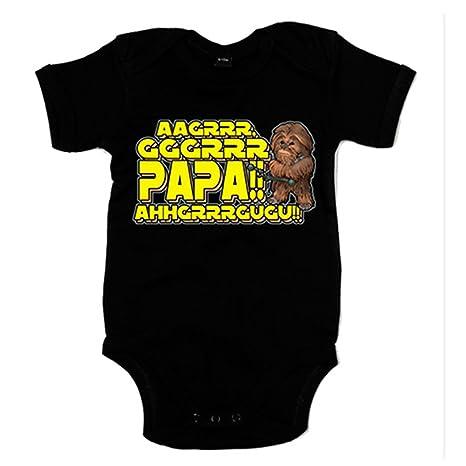 Body bebé Star Wars Chewbacca papá - Negro, 6-12 meses