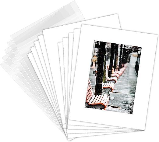 High Quality 8X10 WHITE precut for 5X7 photos Set of 10 Bags Backing