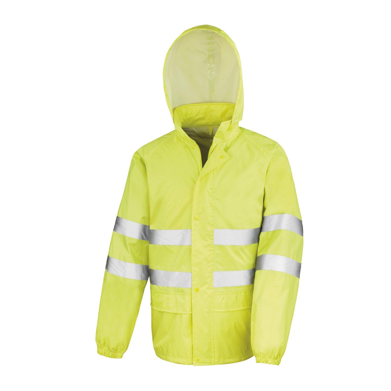 y Resistente al Viento - Impermeable Color: Amarillo Fluorescente Pantal/ón y Chaqueta Traje de Agua//Conjunto Lluvia Alta Visibilidad con Bandas Reflectantes 2 Piezas 2XL 2.000 mm