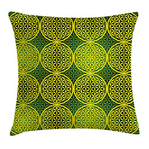 """Ambesonne Abstract Throw Pillow Cushion Cover, Modern Vivid Flower of Life Meditation Code Illustration, Decorative Square Accent Pillow Case, 16"""" X 16"""", Green Yellow"""