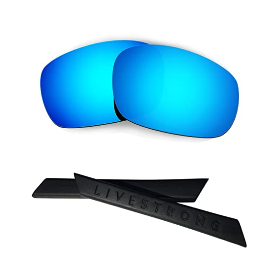 HKUCO Blue/Black Polarized Replacement Lenses plus Yellow Earsocks Rubber Kit For Oakley Split Jacket