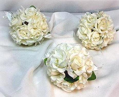 Amazon 6 rose balls cream ivory pew bow wedding silk flower 6 rose balls cream ivory pew bow wedding silk flower girl pomander kissing ball mightylinksfo