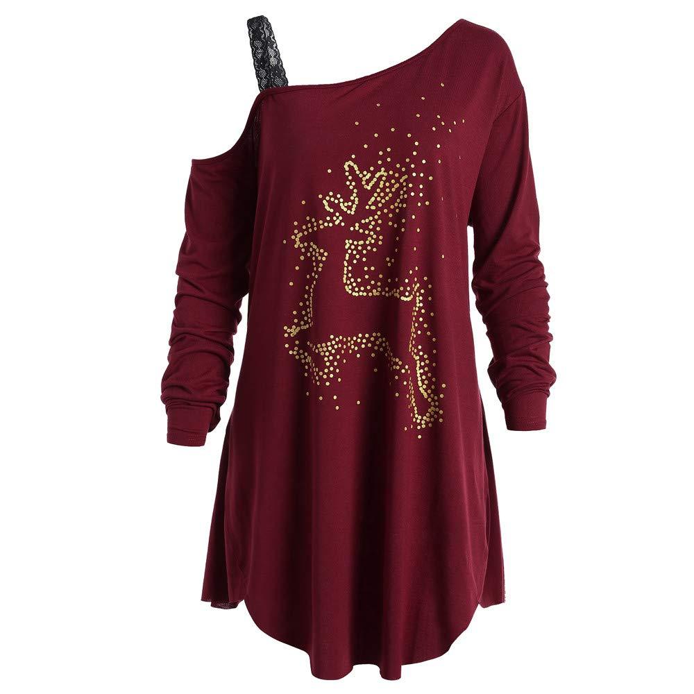Fashion Womens Long Sleeve Christmas Reindeer Printed Casual Tunic T-Shirt HTDBKDBK Long Sleeves//Hoodies for Christmas