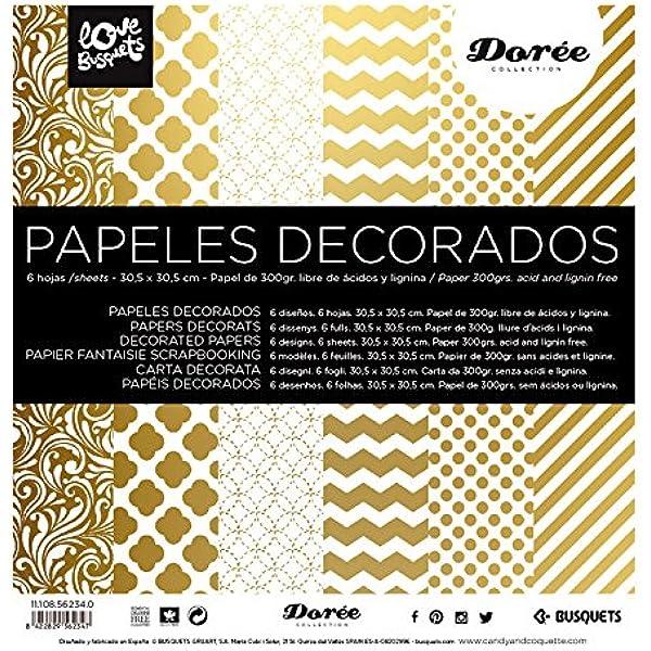 Busquets Papeles Decorados Scrapbooking Dorado 30,5x30,5: Amazon.es: Equipaje