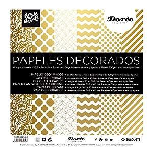 Papel scrapbooking dorado 30 5x30 5 juguetes y for Papel decorativo dorado