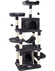 """POTBY 67"""" Multi-Level Cat Tree Play House Climber Activity Centre Tower Stand Furniture, with Scratching Posts, Hammock, Dangling Ball and Condo, Anti-toppling Devices, Suit for Kittens, Cats and Pet"""