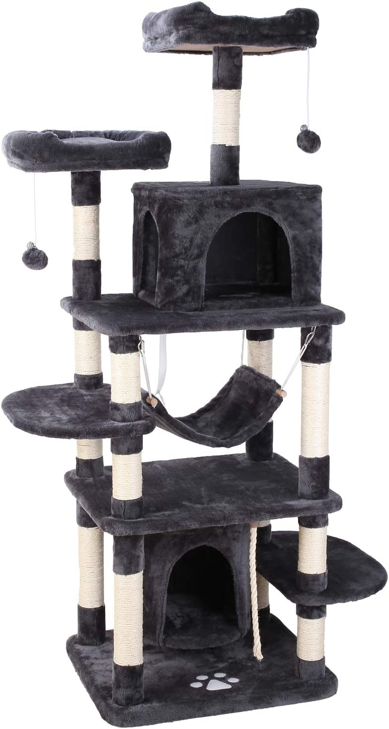 "POTBY 67"" Multi-Level Cat Tree Play House Climber Activity Centre Tower Stand Furniture, with Scratching Posts, Hammock, Dangling Ball and Condo,.."