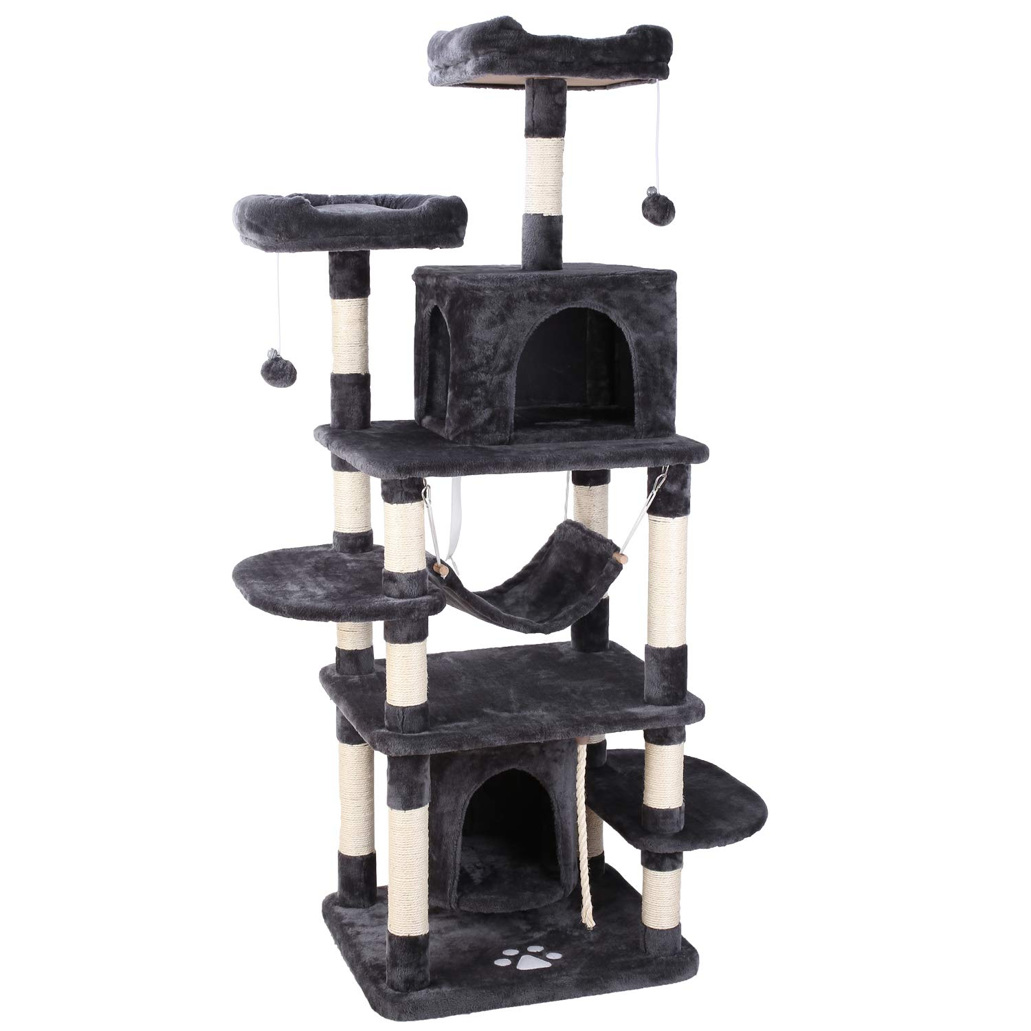 POTBY 67'' Multi-Level Cat Tree Play House Climber Activity Centre Tower Stand Furniture, with Scratching Posts, Hammock, Dangling Ball and Condo, Anti-toppling Devices, Suit for Kittens, Cats and Pet by POTBY