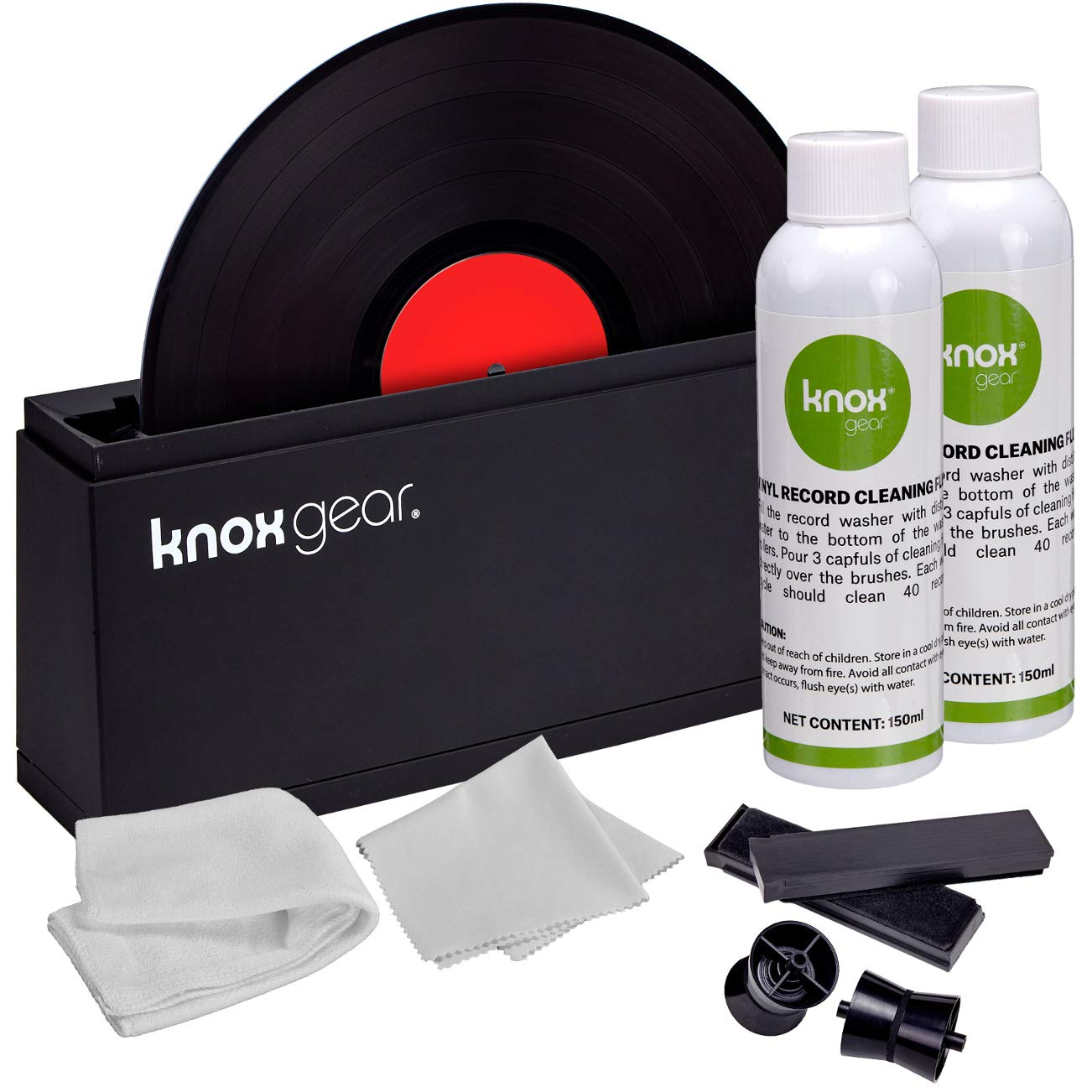 Knox Vinyl Record Cleaner Spin Kit - Washer Basin, Air Drying Rack, Cleaning Fluid, Brushes and Rollers Dryer and Microfiber Cloths - Washes and Dries 7'', 10'' and 12'' Discs