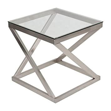 Elegant Ashley Furniture Signature Design   Coylin Glass Top Square End Occasional End  Table   Contemporary