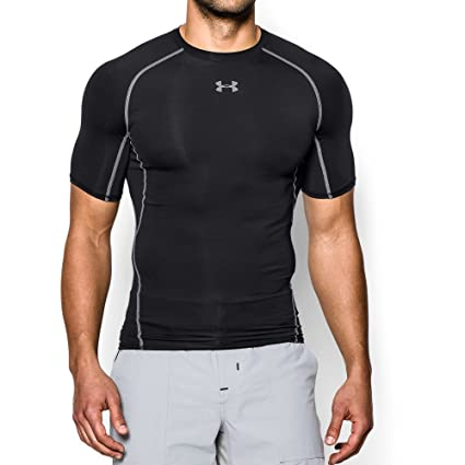 4fde4f542 Under Armour mens HeatGear Armour Short Sleeve Compression T-Shirt, Black  (001)