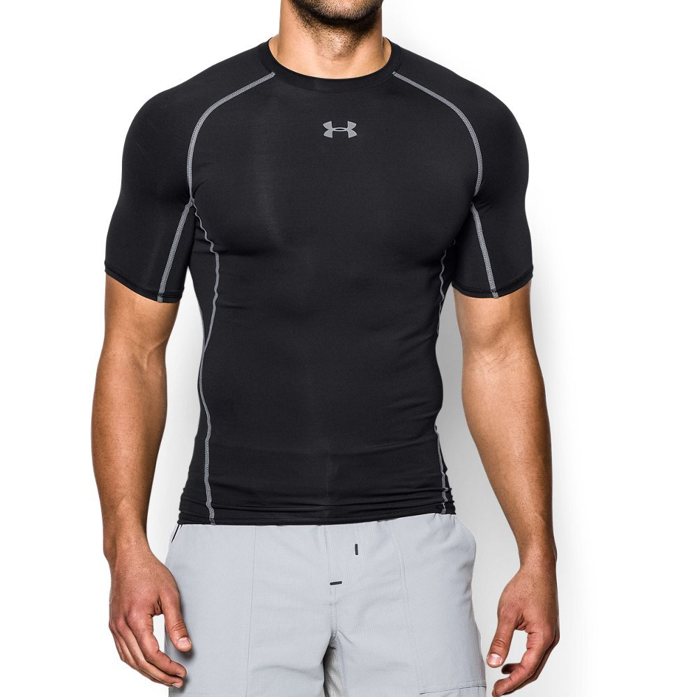 UNDER ARMOUR mens HeatGear Armour Short Sleeve Compression T-Shirt, Black (001)/Steel, Small