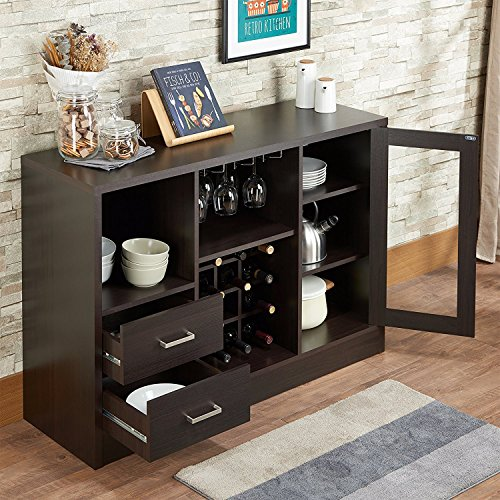 Major-Q 9072640 Modern Espresso and Rustic Oak Finish Wooden Wine Rack Cabinet Server Console Table with Drawers Compartments and Shelves