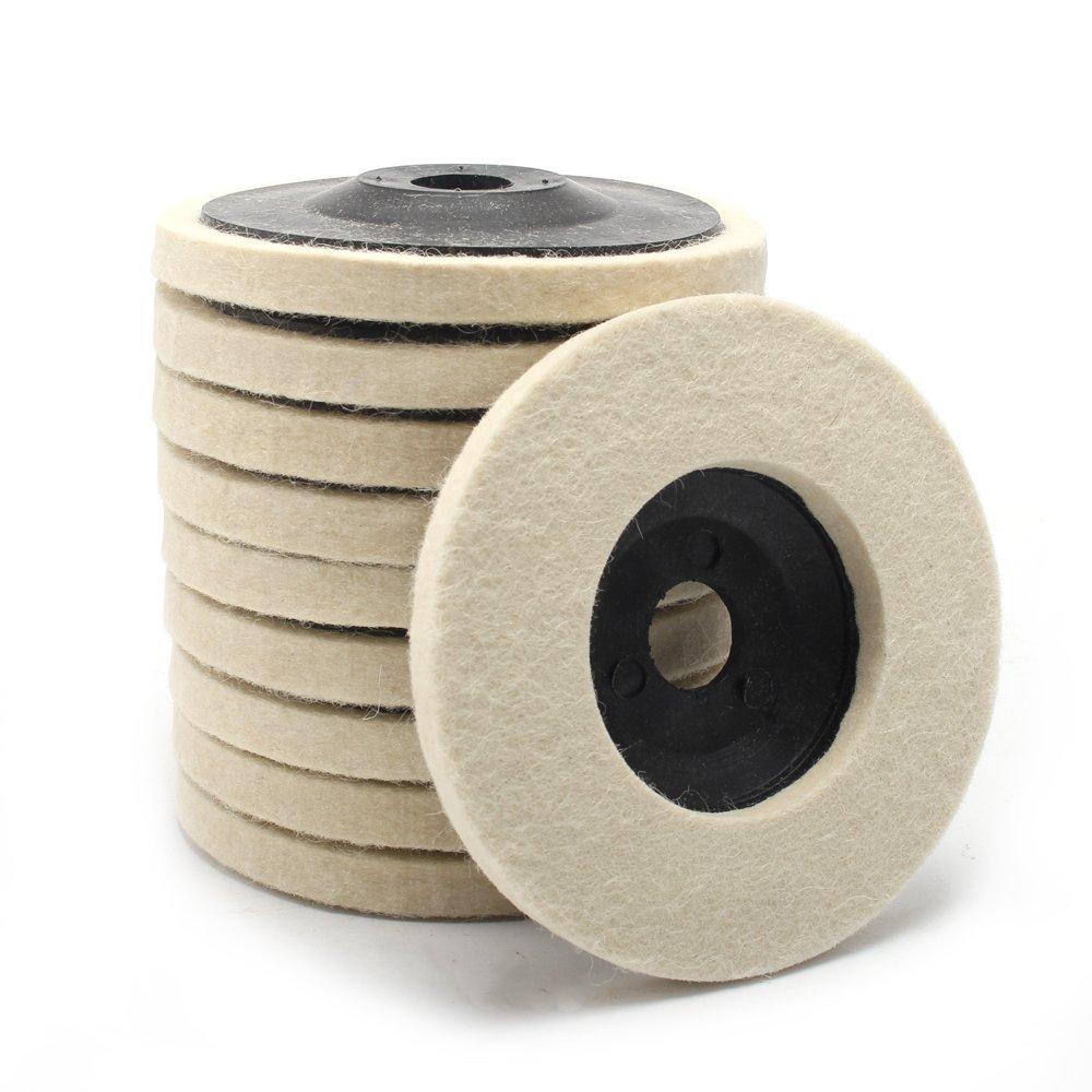 10pcs 4''-inch Diameter 100mm Wool Buffing Polishing Wheel Pad Buffer Disc Bore Dia 16mm
