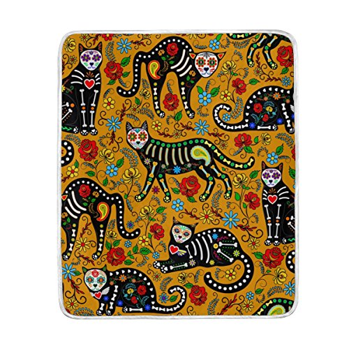 ALAZA Cooper Girl Calavera Sugar Skull Black Cats Throw Blanket Soft Warm Bed Couch Blanket Lightweight Polyester Microfiber 50x60 inch]()