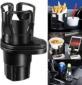 Multifunctional Car Cup Holder,Adjustable Size Beverage HoldCarer,Mount Extender with 360° Rotating Adjustable Base to,Can Hold up to 17oz-20oz Bottled Coffee,Beverage Bottles(Black-A)