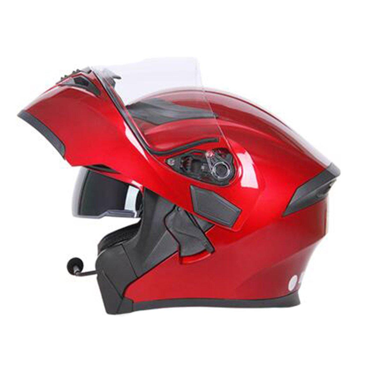 TZQ Mit Blautooth Winter Warm Anti-Fog Doppel-Objektiv Half Helm Fashion Wrestling Hut Helm