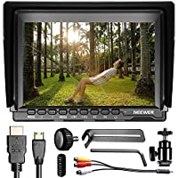 Neewer NW759 7Inch 1280x800 IPS Screen Camera Field Monitor with 1 Mini HDMI Cable for BMPCC,AV Cable for FPV, 16:10 or 4:3 Adjustable Display Ratio for Sony Canon Nikon Olympus (Battery not included)
