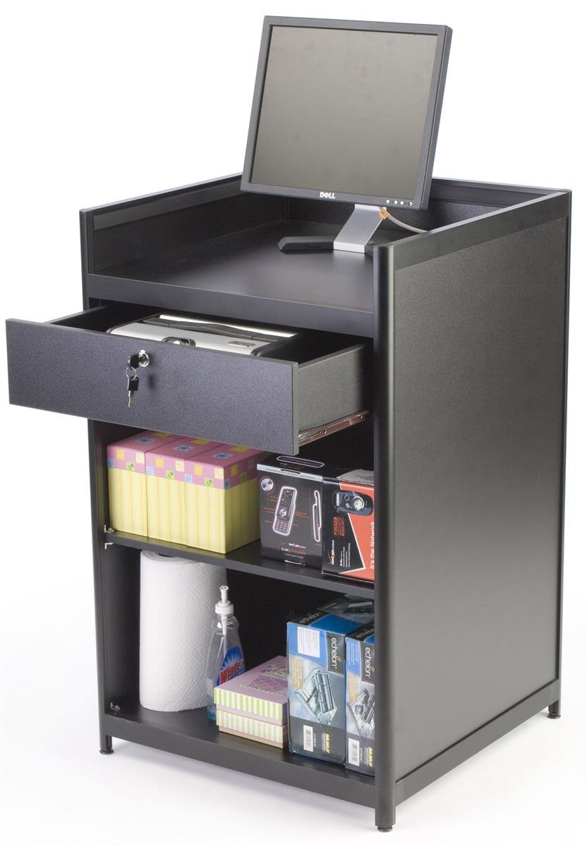 Displays2go Black Laminate Cash Register Stand with Locking Drawer and Adjustable Shelf (IAPCW24)