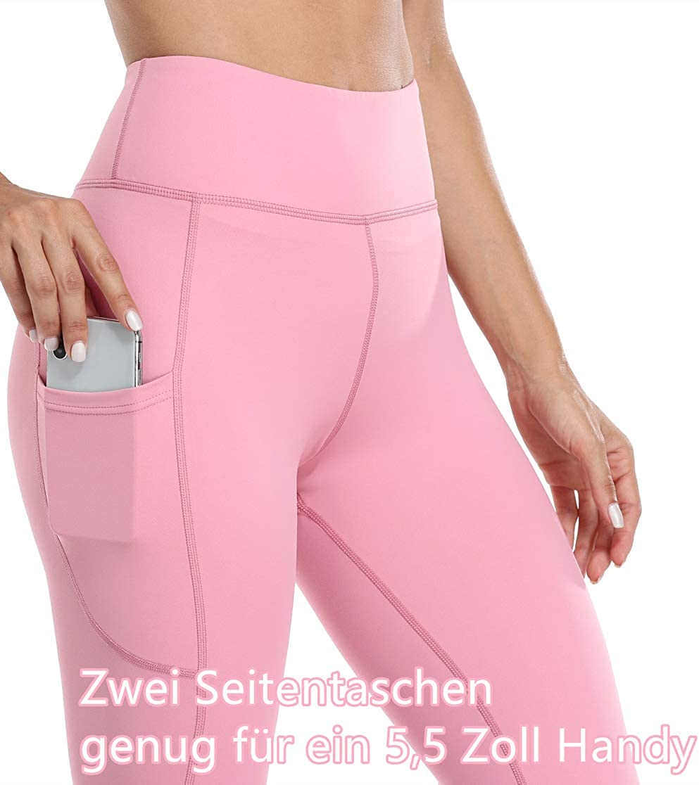 Anwell Leggings Damen 3//4 mit Handytasche Tights High Waist Yogahose Sport