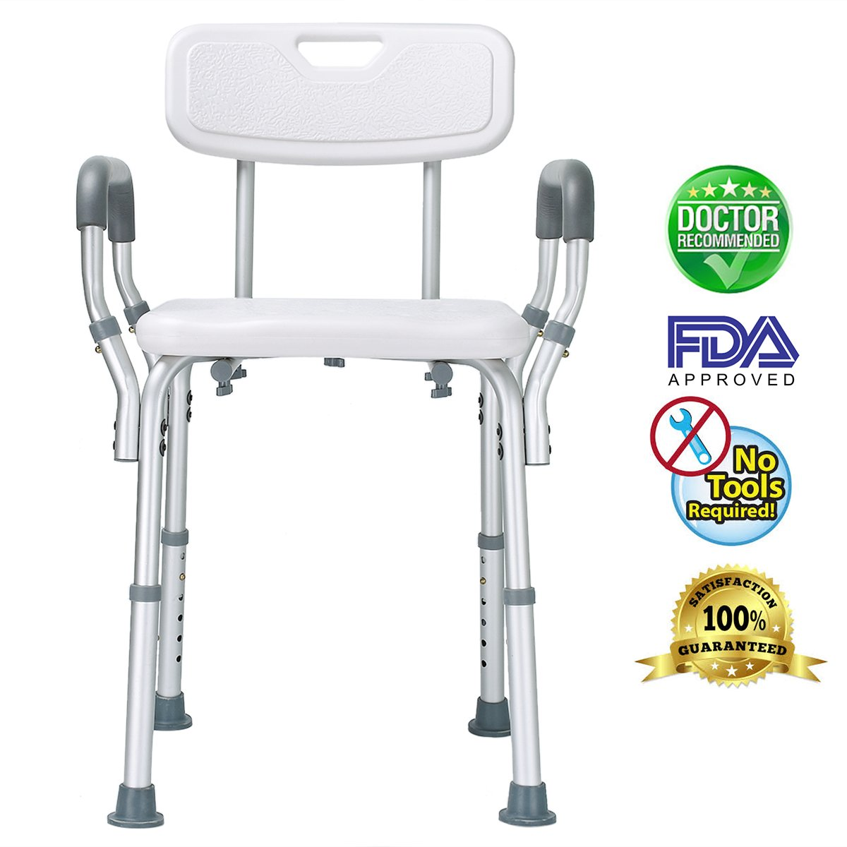 Health Line Tool-Free Assembly Shower Chair Bath Bench Stool Adjustable Height with Removable Back and Arms & Non-Slip Feet - w/Bonus Loofah Back Scrubber by HEALTH LINE MASSAGE PRODUCTS (Image #2)