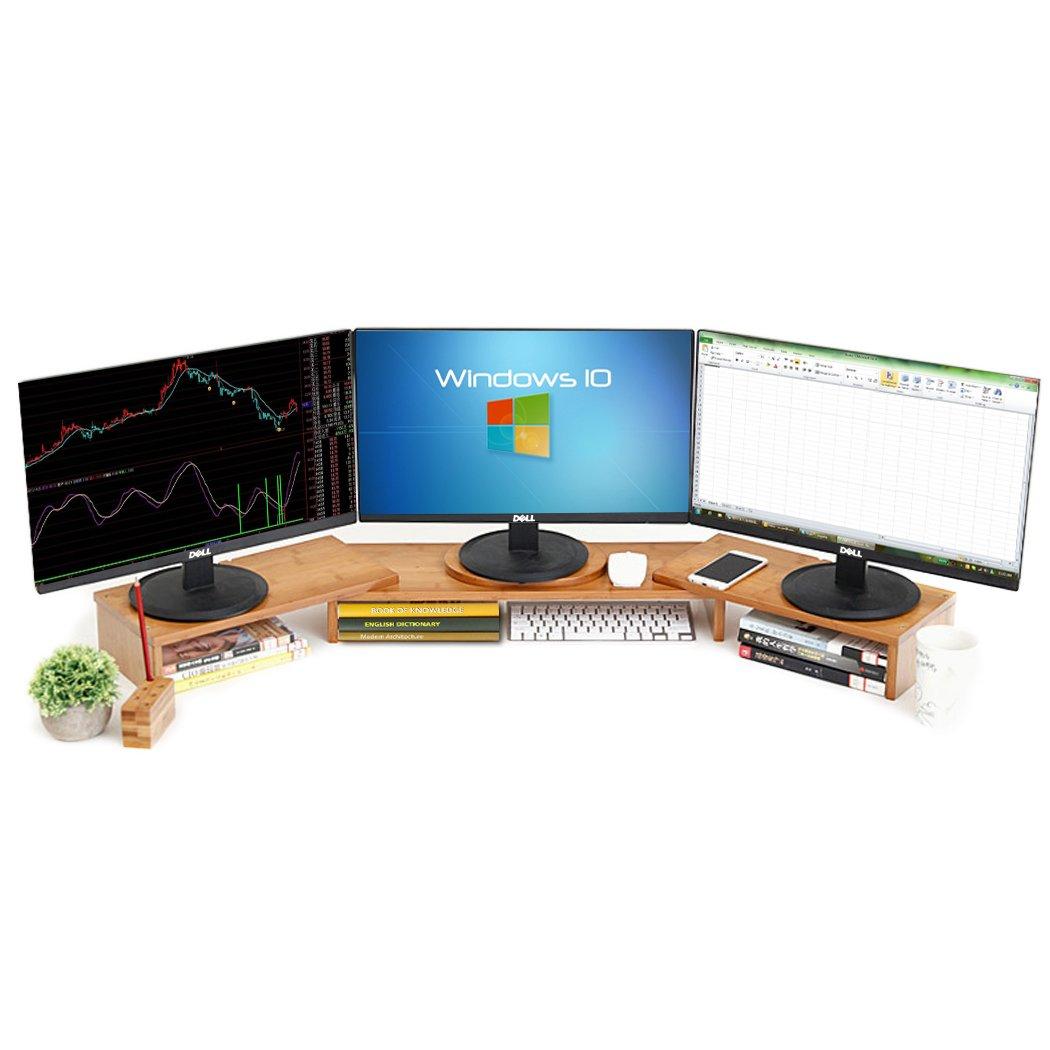 Easeurlife Computer Monitor Riser Multi Media Desktop Stand (Three-Screen (42-50inch))