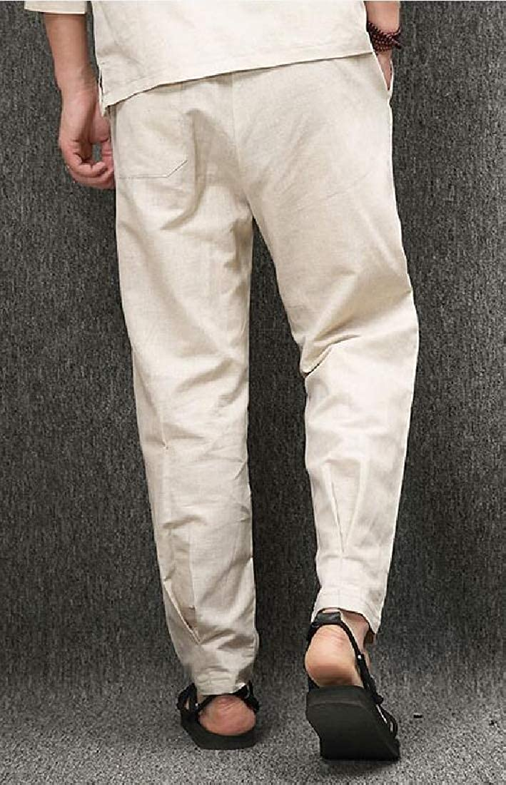 Cromoncent Mens Summer Thin Elastic Waist Linen Chinese Style Straight Pants