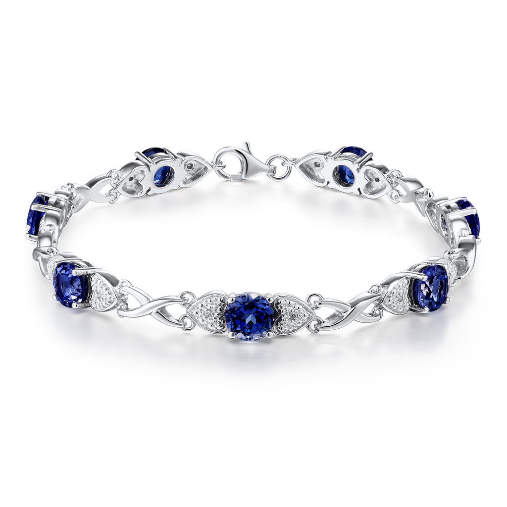 Lab Created Blue Sapphire Bracelet in Rhodium Plated Sterling Silver with Diamond Accents - 7 Inches