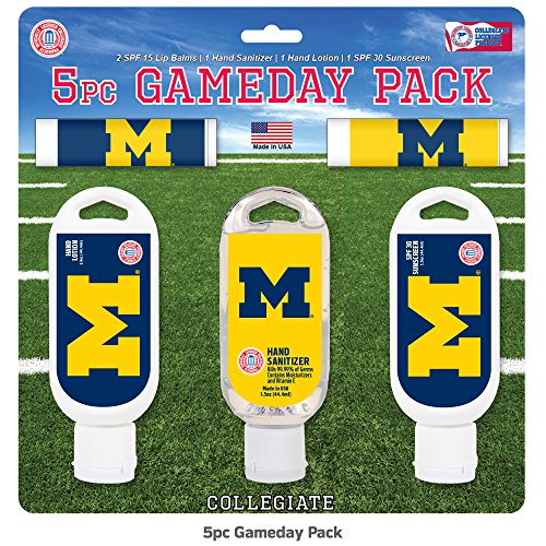 - Worthy Promotional NCAA Michigan Wolverines 5-Piece Game Day Pack with 2 Lip Balms, 1 Hand Lotion, 1 Hand Sanitizer, 1 SPF 30 Sport Sunscreen