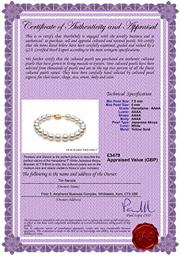 Blanc 7.5-8mm Hanadama - AAAA-qualité Akoya du Japon 585/1000 Or Jaune-Bracelet de perles