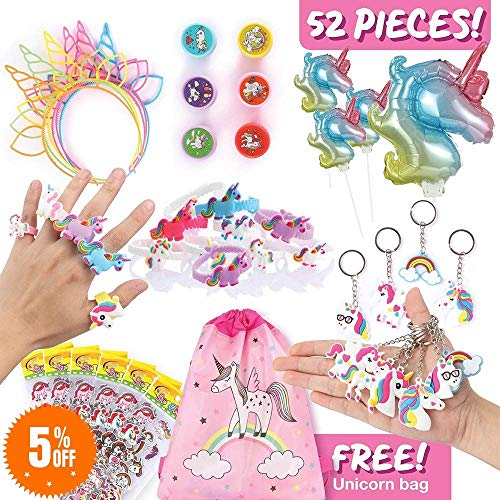 Unicorn Party Favors and Toys for Kids, Best Gifts, Party Suppliers, Decorations for Theme Birthday Parties, Fun Goodie Bag Fillers for Girls w/Headbands, Bracelets, DIY Sticker, Keychains, more -