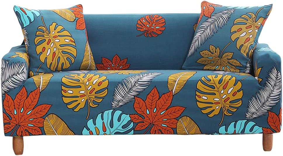 Stretch Sofa Slipcovers Fitted Furniture Protector Colorful Leaves Printed Sofa Cover Stylish Fabric Couch Cover with 2 Pillowcases for Loveseat,Blue