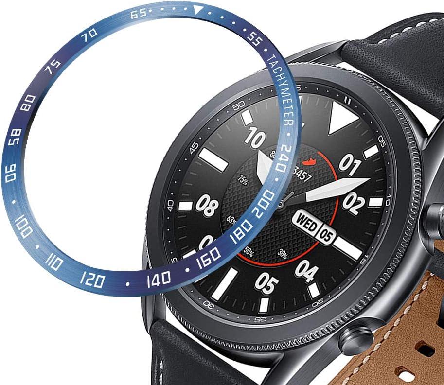 Syxinn Anillo de Bisel Compatible para Samsung Galaxy Watch 3 41mm 45mm Bisel de Acero Inoxidable Cubierta Adhesiva de Círculo de Anti-rasguños Reloj Decorativo Anillo de protección