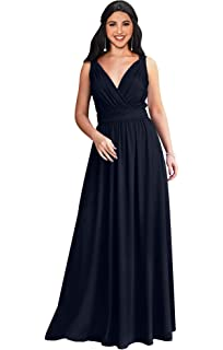 1543309085a KOH KOH Womens Long Sleeveless Flowy Bridesmaid Cocktail Evening Gown Maxi  Dress