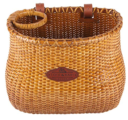 Bicycle Basket by Tote&Kari Made for The Front Handlebar of Adult Beach Cruiser Bike it has a Cup Holder -Classic Vintage Style Handmade Natural Woven Rattan Wicker Also fits Scooter Quick Detachable