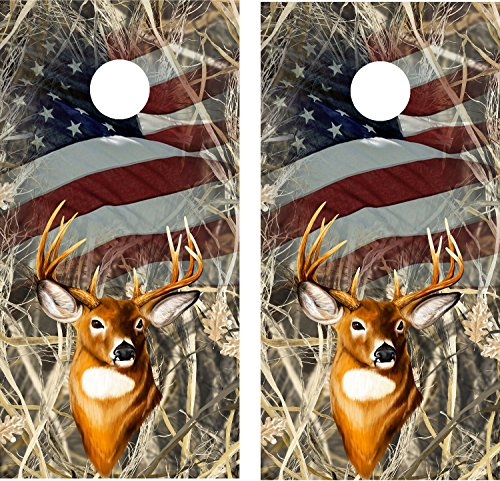 Cornhole Wrap Decal Camo Tallgrass Flag Deer Laminated Includes 2 Decals by avgrafx