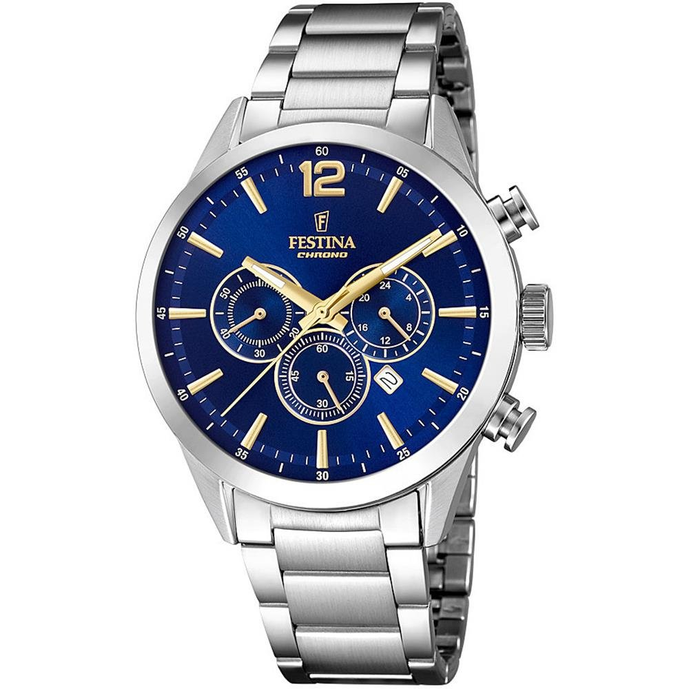 Men's Watch Festina - F20343/2 - Chrono - Date - Dark Blue Dial - Stainless Steel