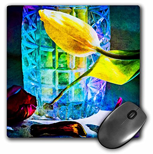 Vase Crystal Flora (3dRose Alexis Photography - Flowers Tulip - Sunlit tulips and crystal vase. Decay - MousePad (mp_267123_1))