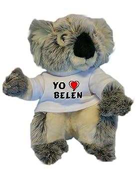 Koala personalizada de peluche (juguete) con Amo Belén en la camiseta (nombre de
