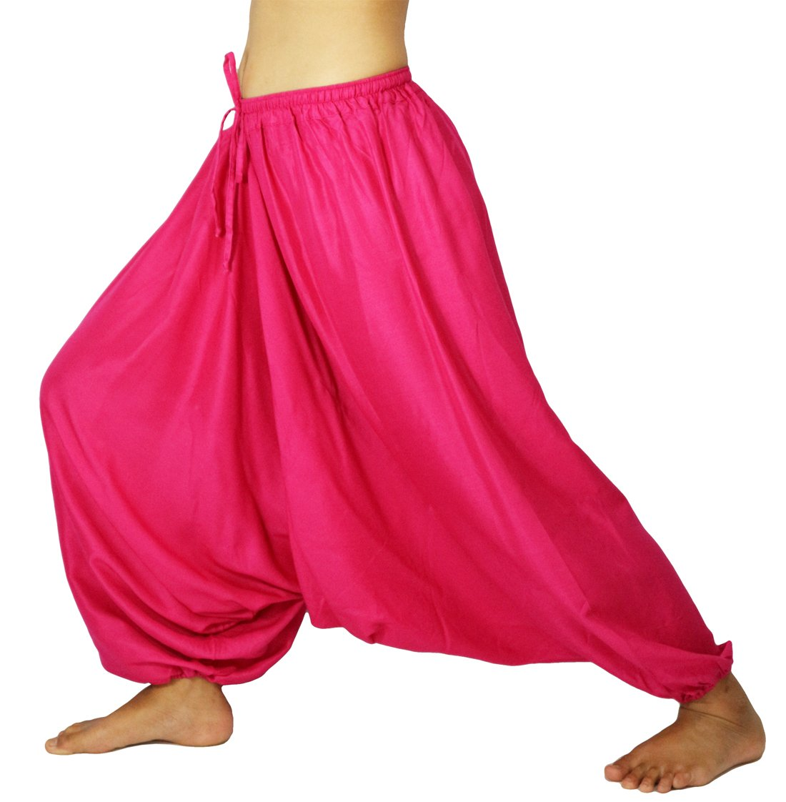 Lovely Creations Unisex Plus Size Baggy Aladdin Hippie Yoga Harem Casual Pants(HC Pink),US size 4-14